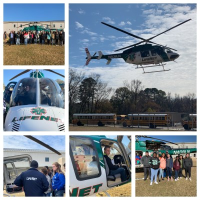 Photos from LifeNet Air's visit to Malvern Middle School to teach about careers in EMS and show the medical helicopter in Malvern.