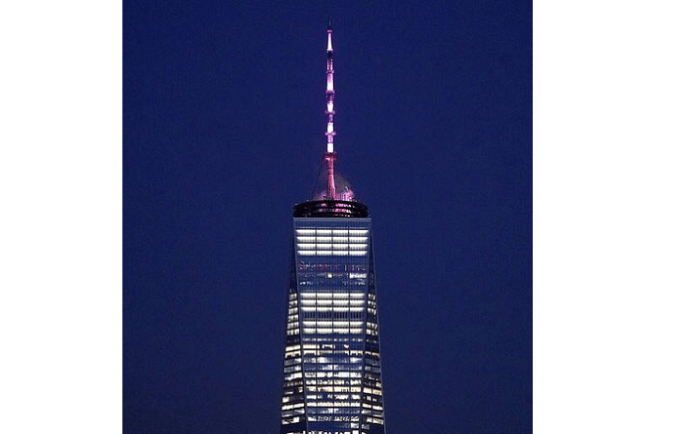 Image result for One World Trade Center tower lit in pink