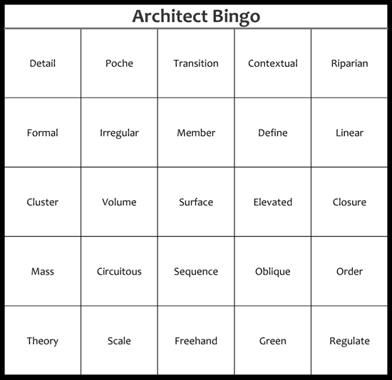 Words That Architects Use Architect Bingo Card 2