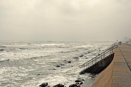 galveston seawall, ocean, gulf of mexico