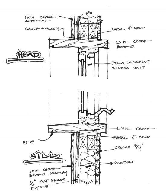 Site built window with Pella Casement window infill sketch by Dallas Architect Bob Borson