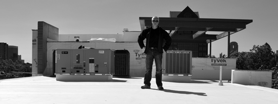 Architect Bob Borson on roof