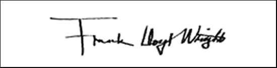 the signature of architect Frank Lloyd Wright