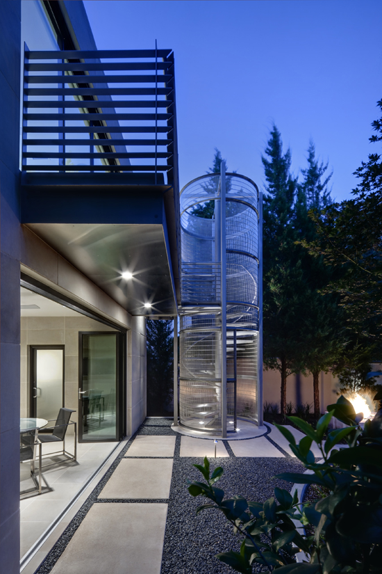Stainless Steel Circular Stair - Dallas Architect Bob Borson