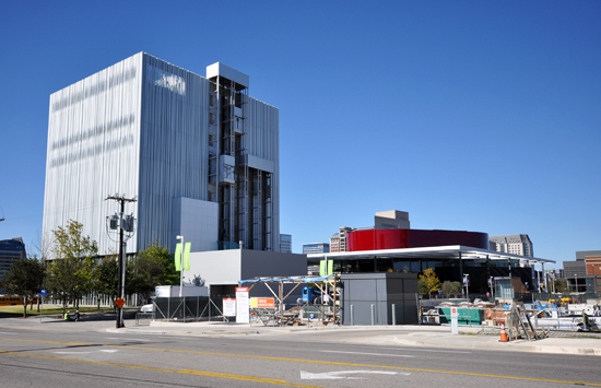 Wyly Theatre south elevation with Winspear Opera to the right