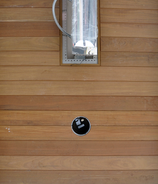 in-line heater and lights in wood ceiling