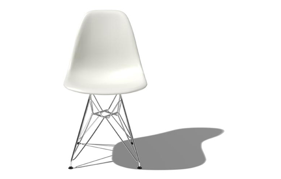 Eames molded plastic chair with eiffel base