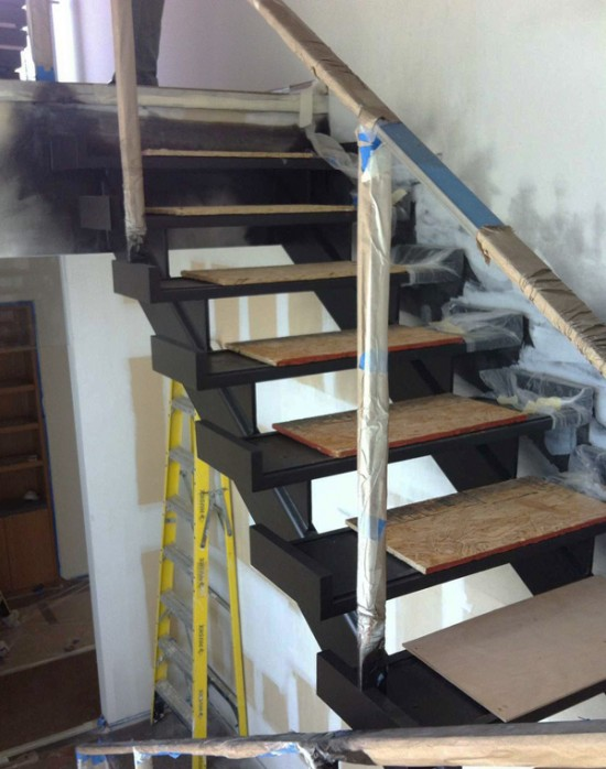 modern stairs - treads after painting