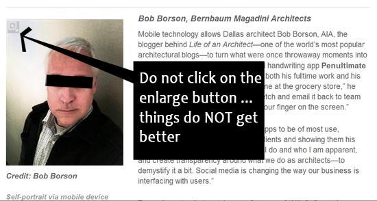 Bob Borson Architect Magazine photo text box with bar