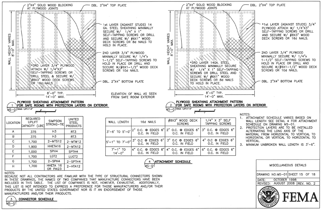 FEMA Safe Room Section and Framing Details