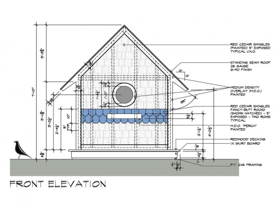 Birdhouse construction drawings - design by Dallas Architect Bob Borson