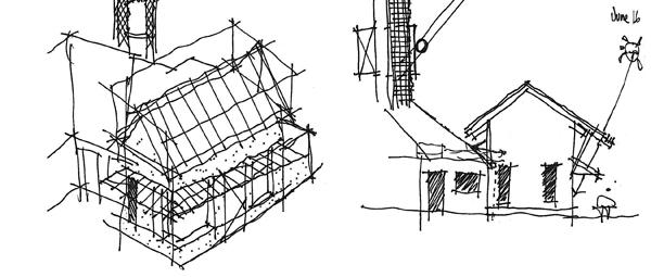 Architectural thumbnail sketch