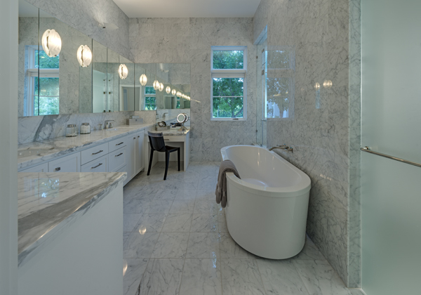 white countertops master bathroom from Michael Malone Architects