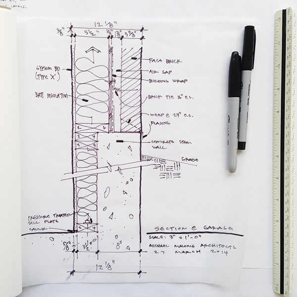 Architectural Sketch wall section line weight