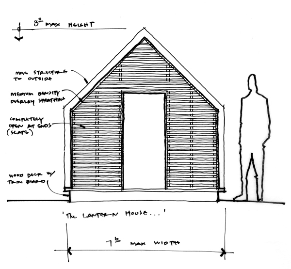 Lantern Playhouse Front Elevation Sketch