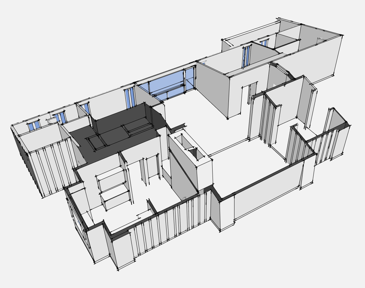 3D house model birdseye view without beams