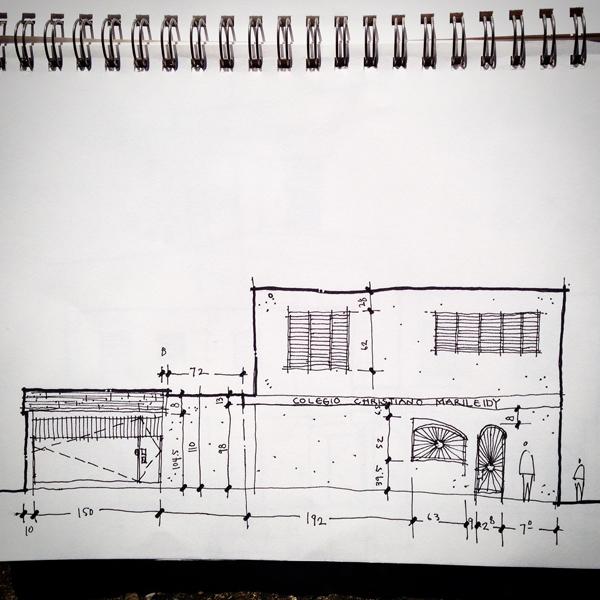 elevation sketch from Colegio Cristiano Marileidy in Santo Domingo