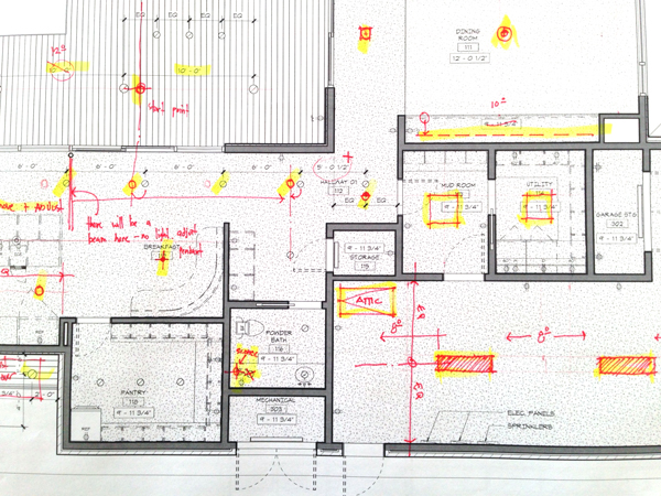 corrected architectural redlines