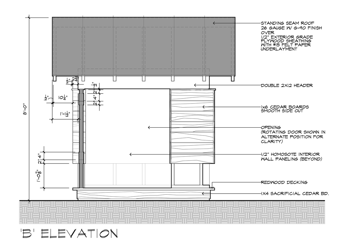 Trend Elevation uB u is the movie screen side u looking at the opening above you ull see the location of where the white painted MDO side of the pivoting door