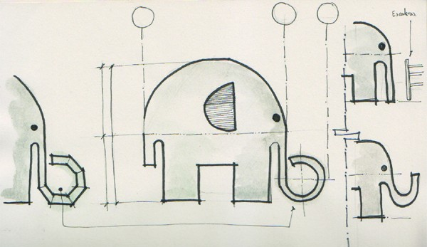 Andres Moreno Ellie the Elephant Design Sketches