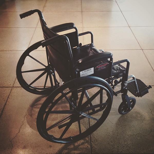 Bob Borson's wheelchair for the day