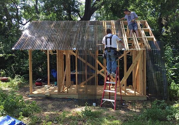 Dain Playhouse roof installation