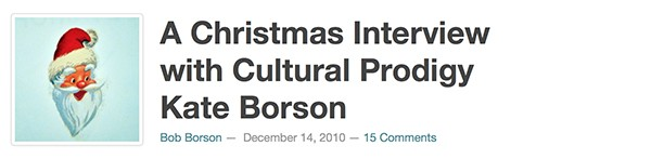 Christmas Interview with Kate Borson