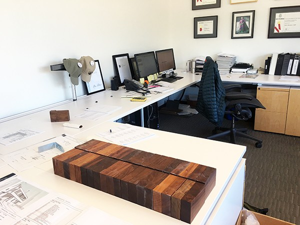 woods blocks up at the office of Bob Borson