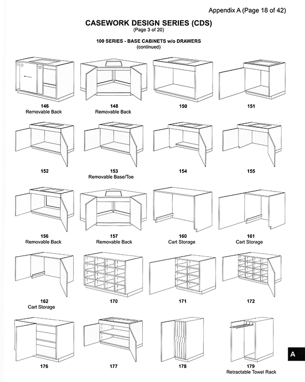 AWI Casework Design Series - Base Cabinets example