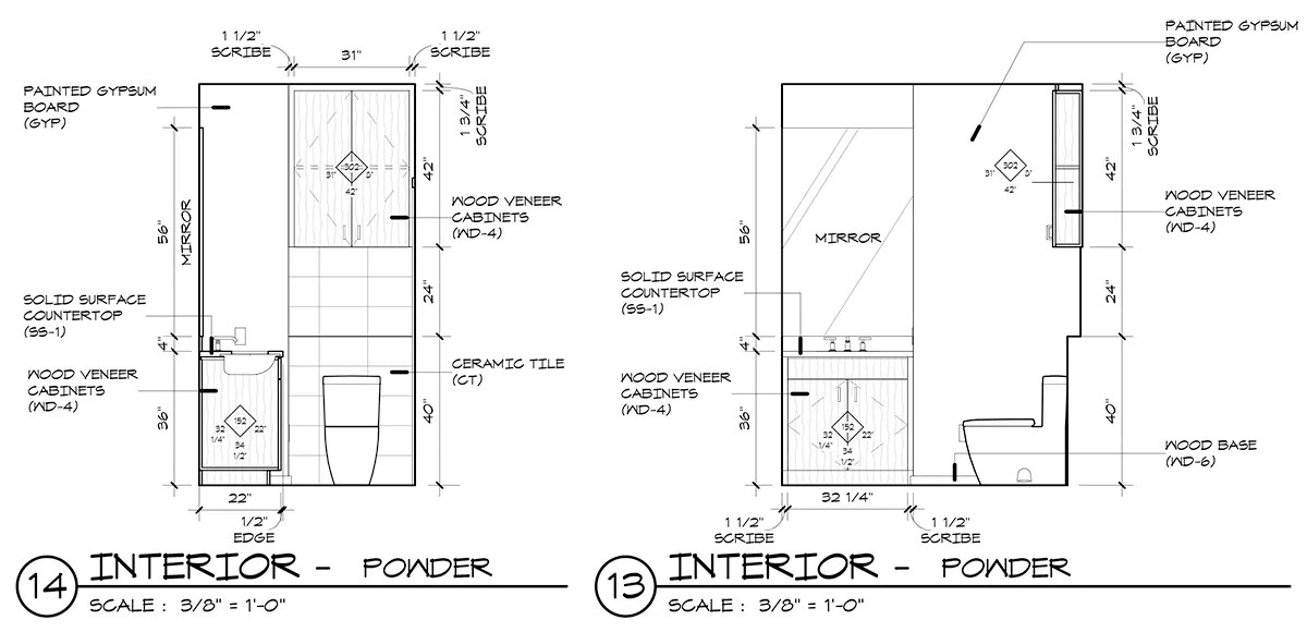 Powder Bathroom Millwork after AWI Casework Design Series tags