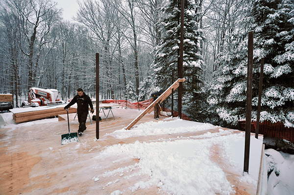 cleaning snow off