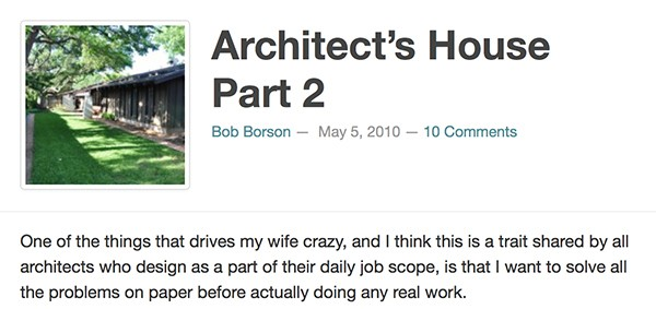 Bob Borson - Architects House Part 2