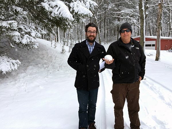 Dallas Architect Bob Borson and Ryan Thomason in the snow