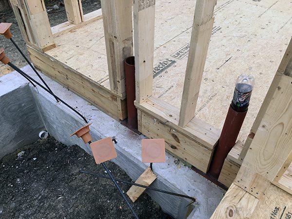 framing around pipe columns