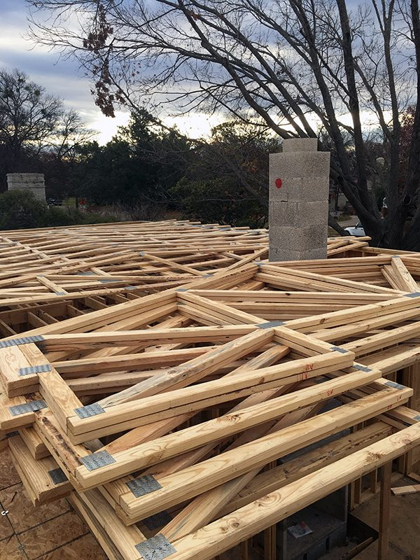 roof trusses stacked up for installation