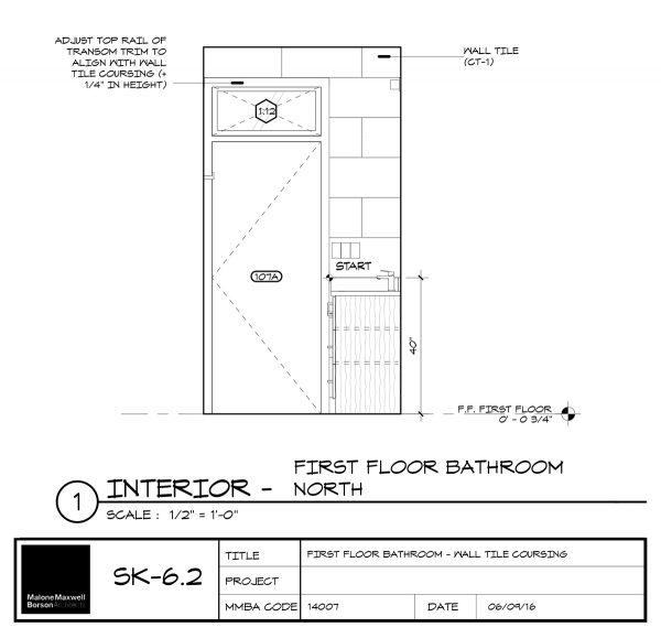 Cabin Wall Tile Coursing North - Dallas Architect Bob Borson