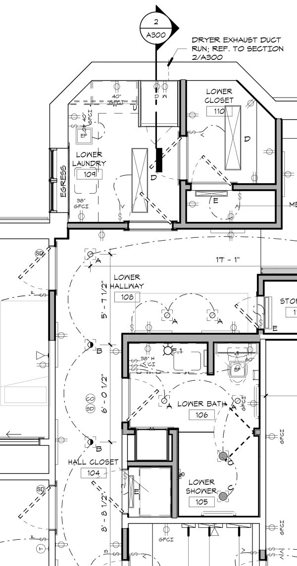 Unique Lower Level Laundry and Bathroom Electrical Plumbing plan