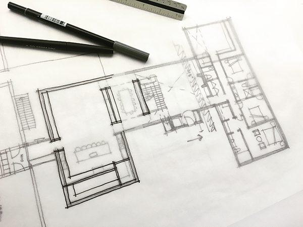 initial floor plan concept sketch