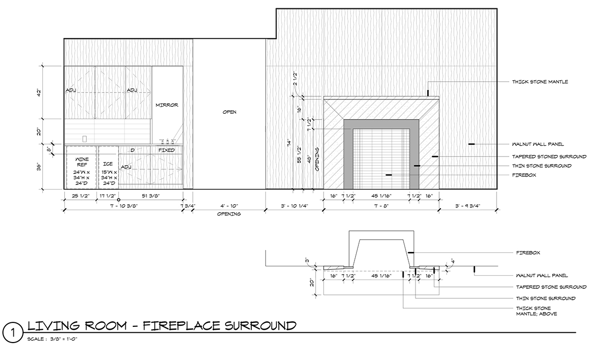 Stone Wall Elevation Drawing : Fireplace mantle nice and simple life of an architect