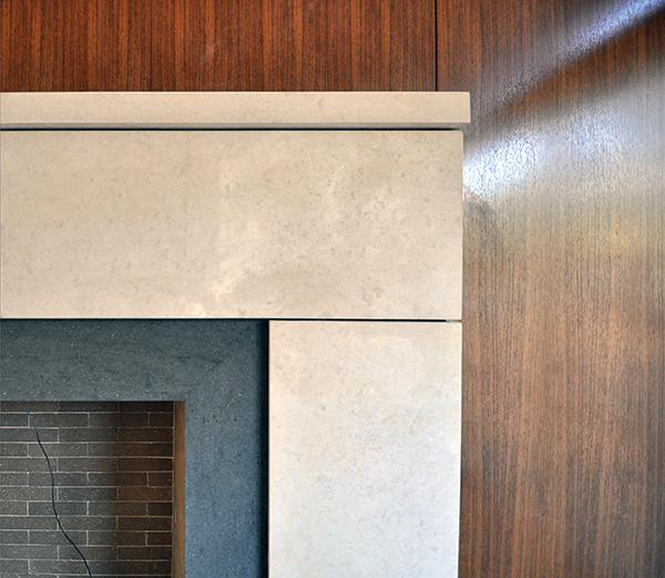 main living room fireplace - surround mitred corners