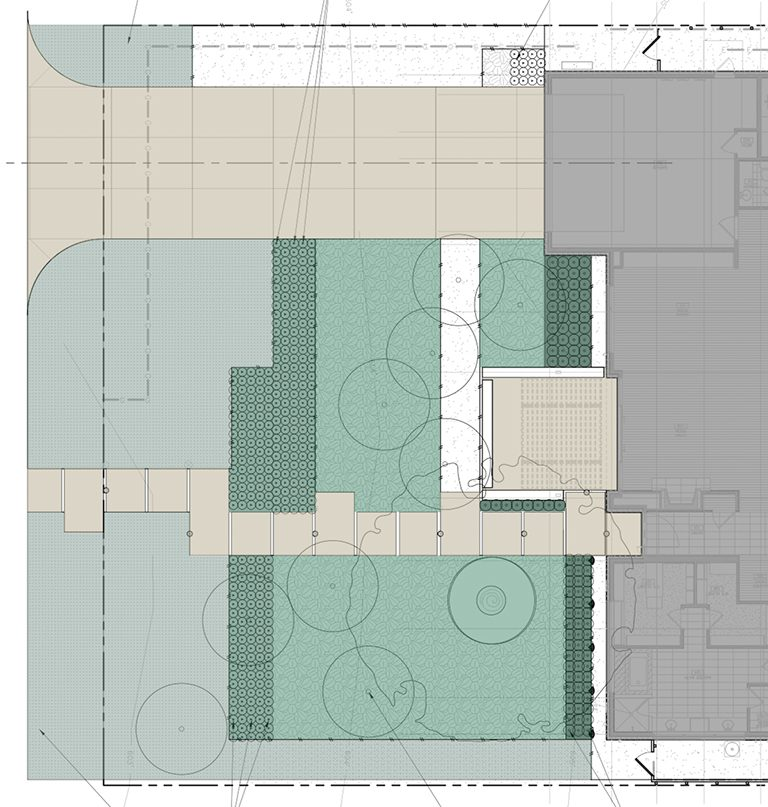Site Plan - concrete sidewalk floating pads