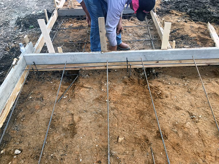 concrete pads formwork with rebar
