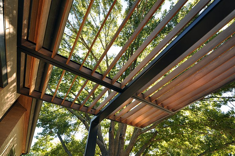 steel and wood trellis
