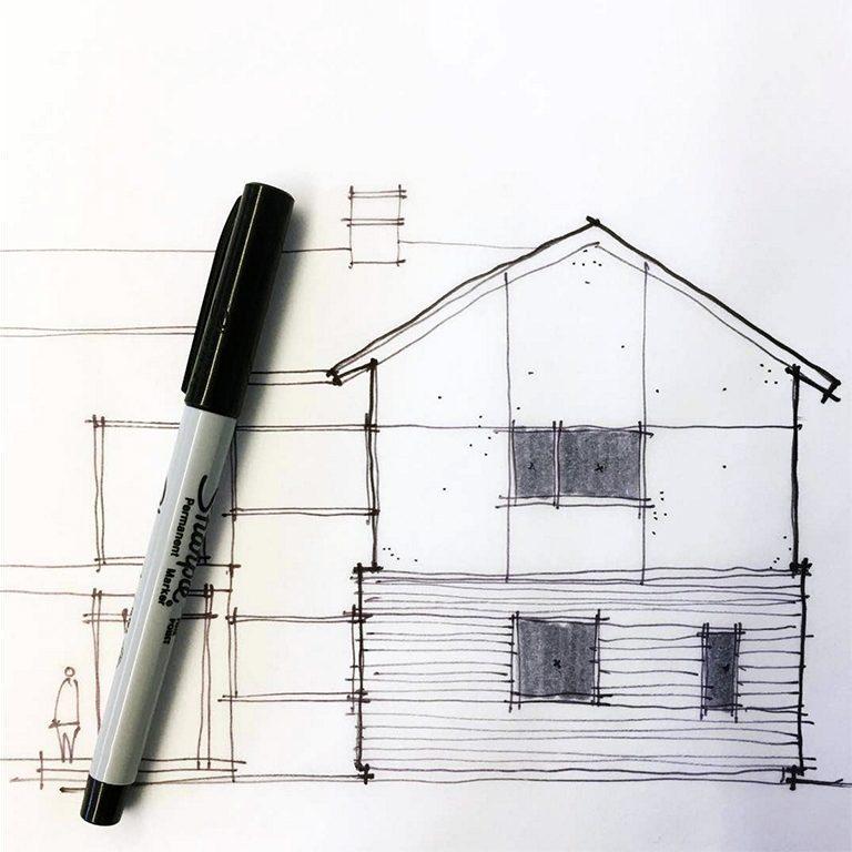 elevation sketch study by Bob Borson