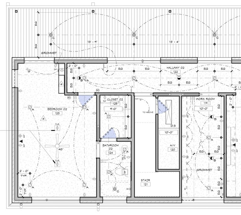 Ideal Architectural Graphics Dashed Doors RCP rendered
