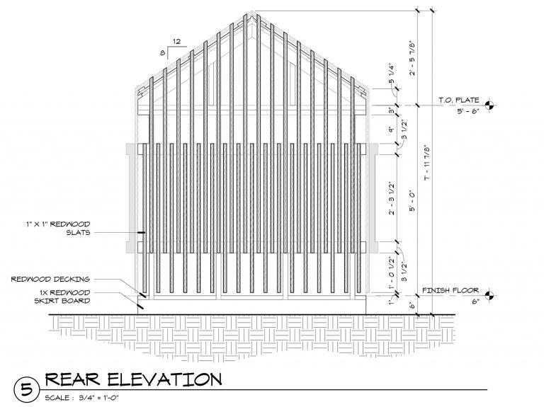 The Grasshopper House - 5 Rear Elevation by Dallas Architect Bob Borson FAIA