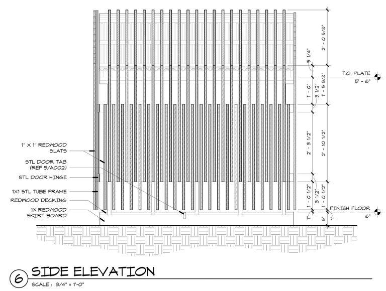 The Grasshopper House - 6 Side Elevation by Dallas Architect Bob Borson FAIA