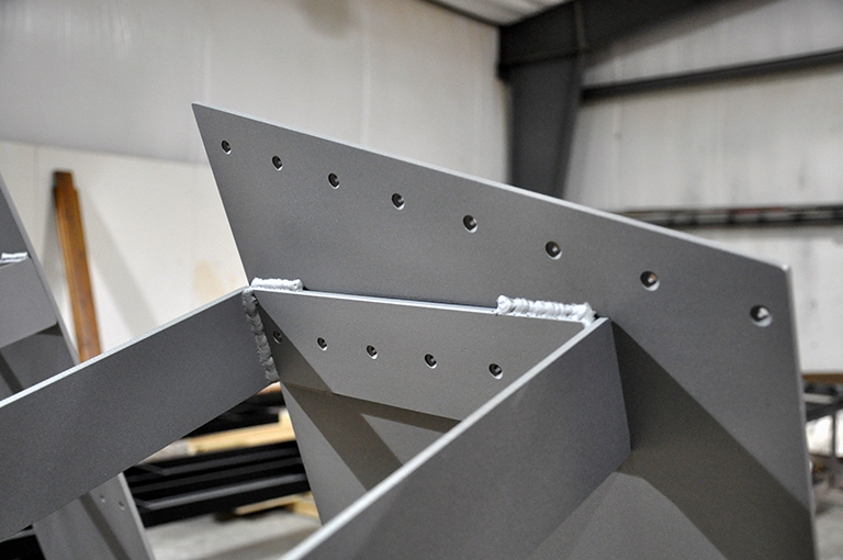 Underside view of the steel benches