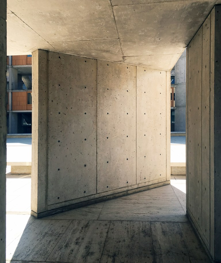 The Salk Institute - base of the concrete stairwell