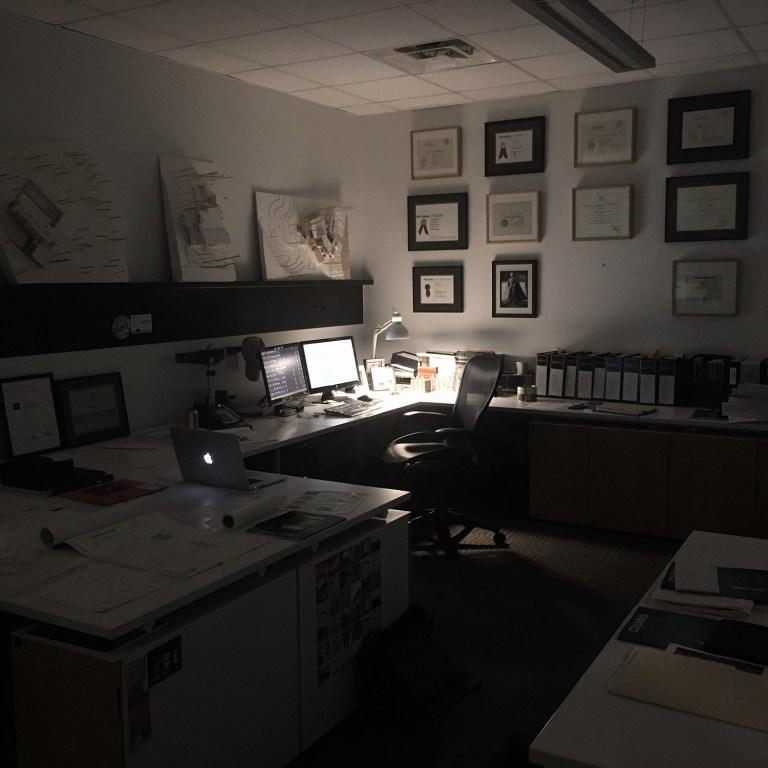 Bob Borson's work desk early in the morning - where the magic happens